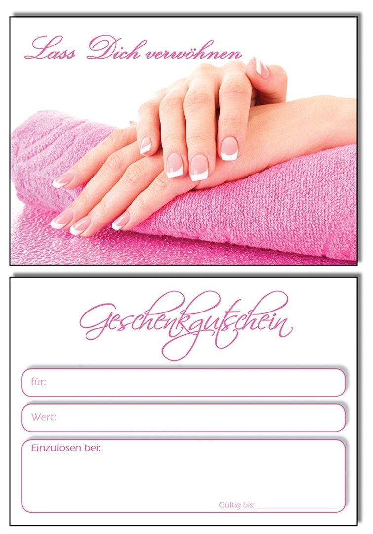 Pedik/üre KS569 Kundenkarten f/ür Fu/ßpflege Nagelstudio 100 Stk Manik/üre